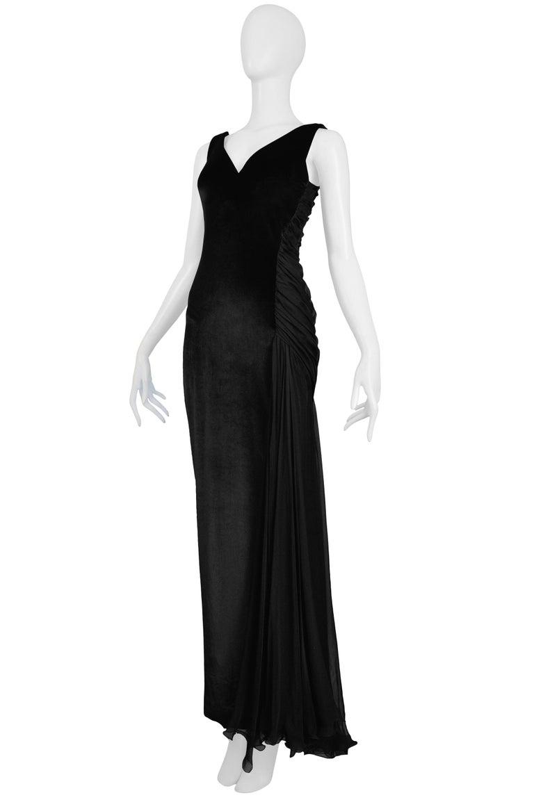 Women's Vintage 1995 Versace Black Velvet Runway Evening Gown  For Sale