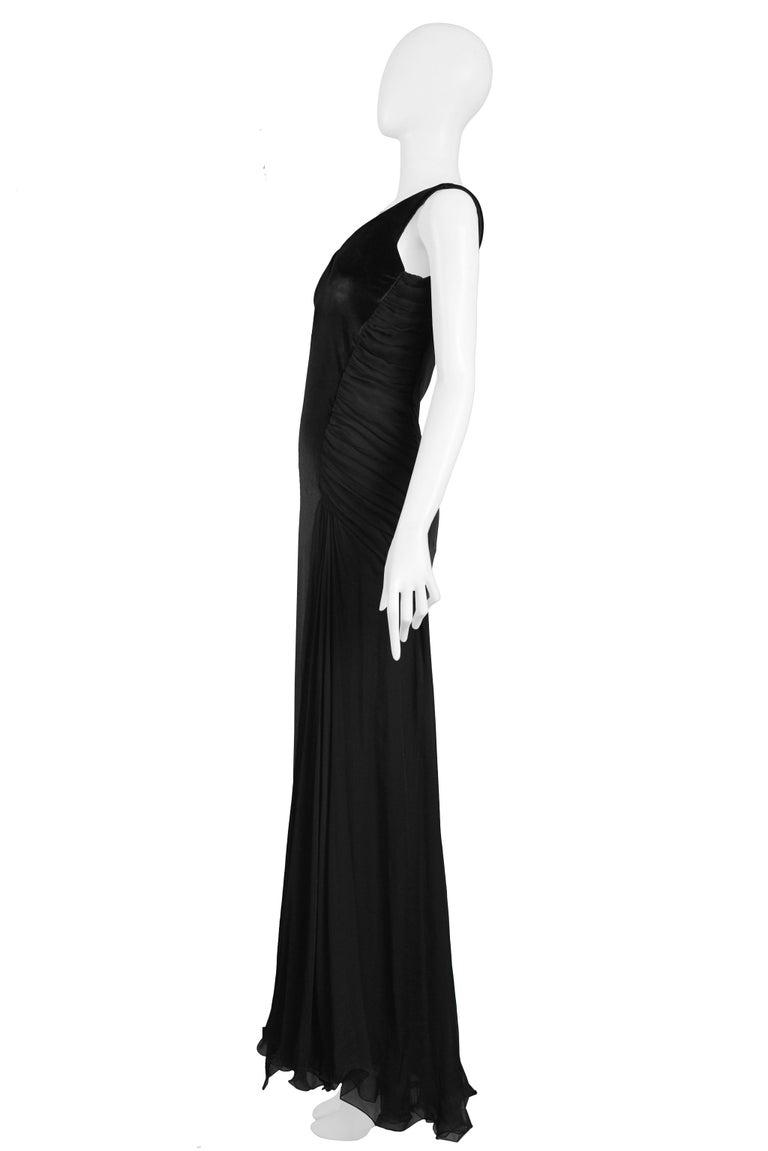 Vintage 1995 Versace Black Velvet Runway Evening Gown  For Sale 2