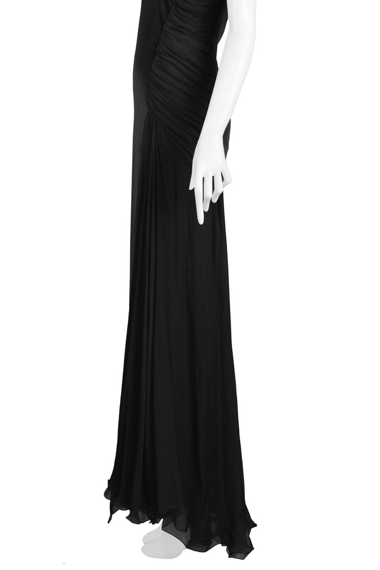 Vintage 1995 Versace Black Velvet Runway Evening Gown  For Sale 3