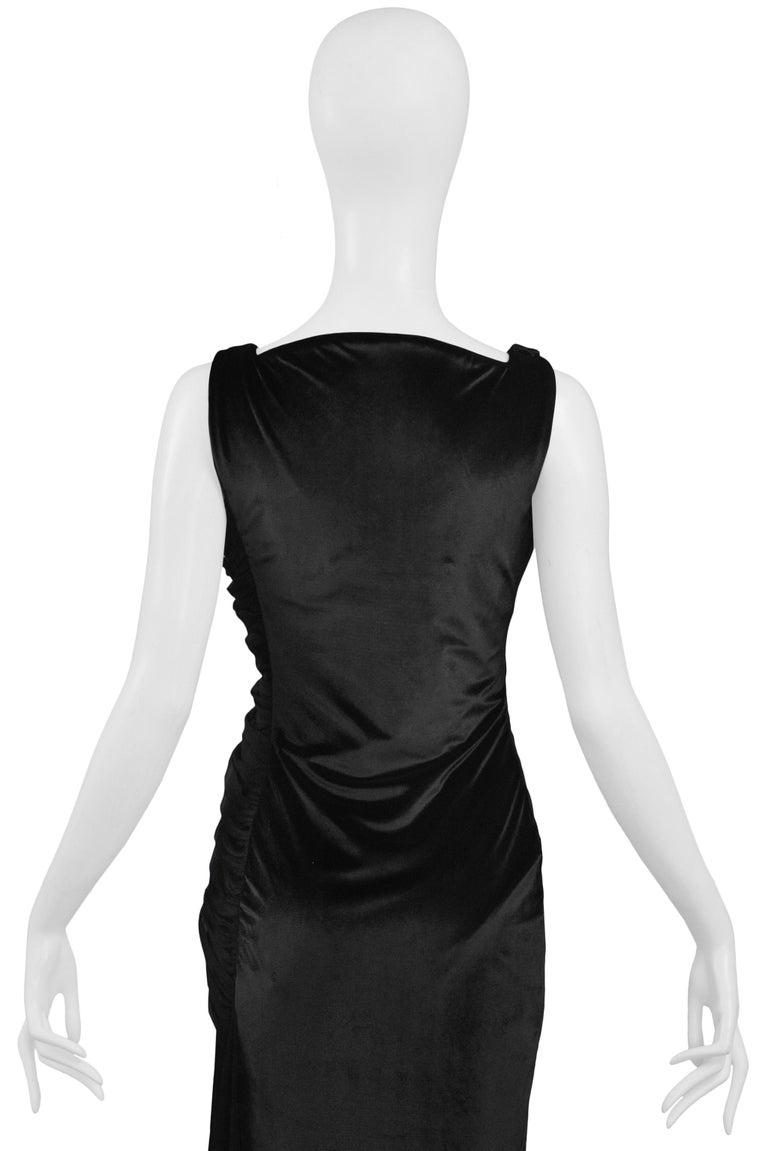 Vintage 1995 Versace Black Velvet Runway Evening Gown  For Sale 4