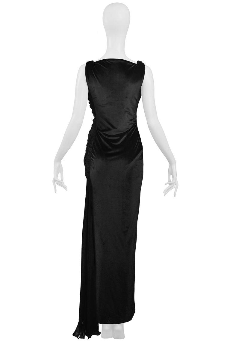 Vintage 1995 Versace Black Velvet Runway Evening Gown  For Sale 5