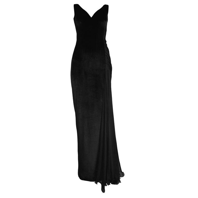 Vintage 1995 Versace Black Velvet Runway Evening Gown  For Sale
