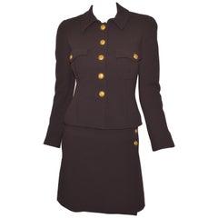 Vintage 1996 A Chanel Brown Skirt and Jacket Set