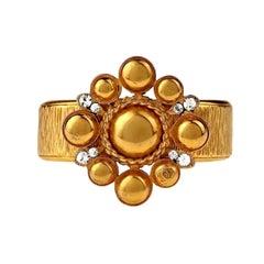 Vintage 1996 CHANEL Gilt Flower CC Logo Rhinestone Cuff Bracelet