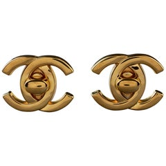 Vintage 1996 CHANEL Iconic Logo Turnlock Earrings