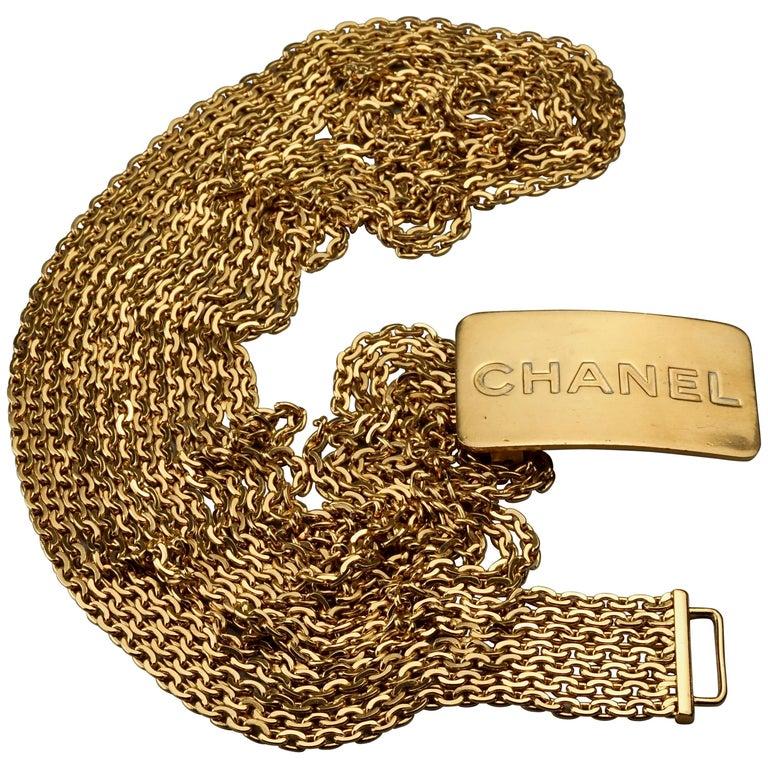 Vintage 1996 CHANEL Logo Buckle Multi Chain Belt For Sale