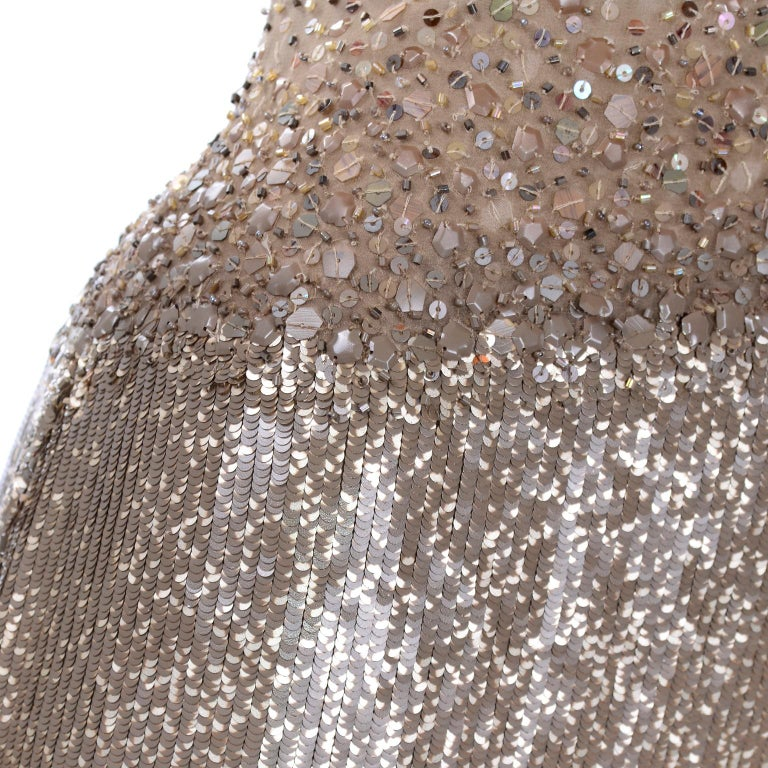 Vintage 1997 Bill Blass Runway Evening Dress Ombre Bronze & Gold Beads & Sequins For Sale 7