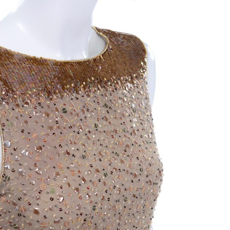 Vintage 1997 Bill Blass Runway Evening Dress Ombre Bronze & Gold Beads & Sequins For Sale 8