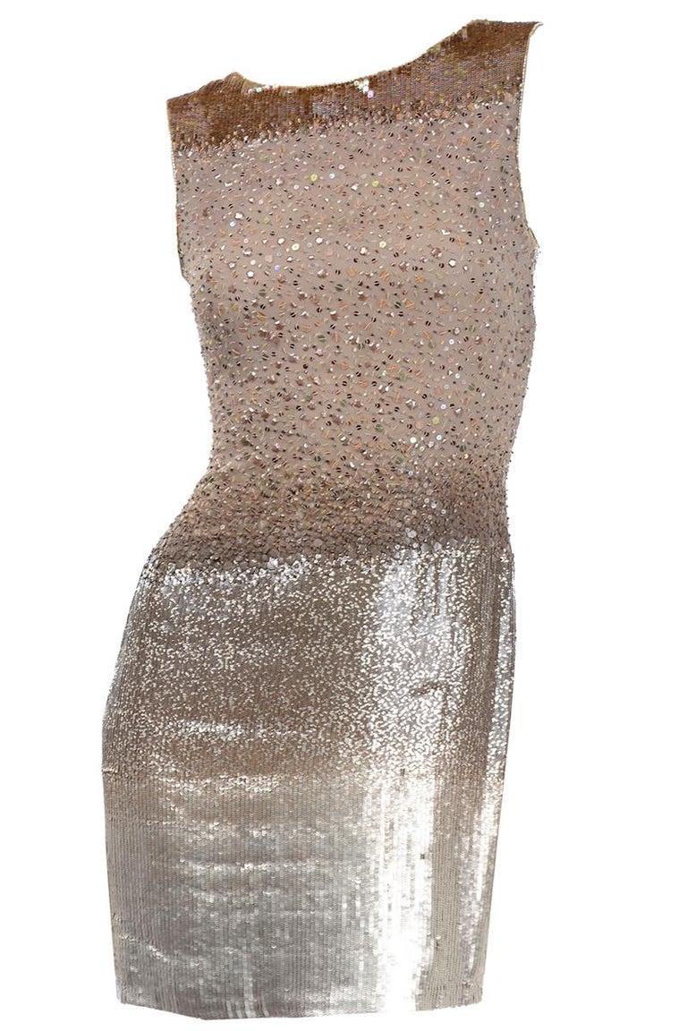 Vintage 1997 Bill Blass Runway Evening Dress Ombre Bronze & Gold Beads & Sequins For Sale 9