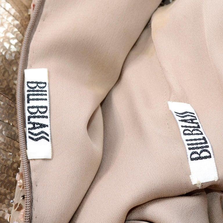 Vintage 1997 Bill Blass Runway Evening Dress Ombre Bronze & Gold Beads & Sequins For Sale 10
