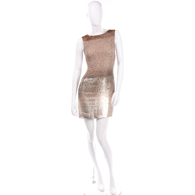 Vintage 1997 Bill Blass Runway Evening Dress Ombre Bronze & Gold Beads & Sequins In Excellent Condition For Sale In Portland, OR