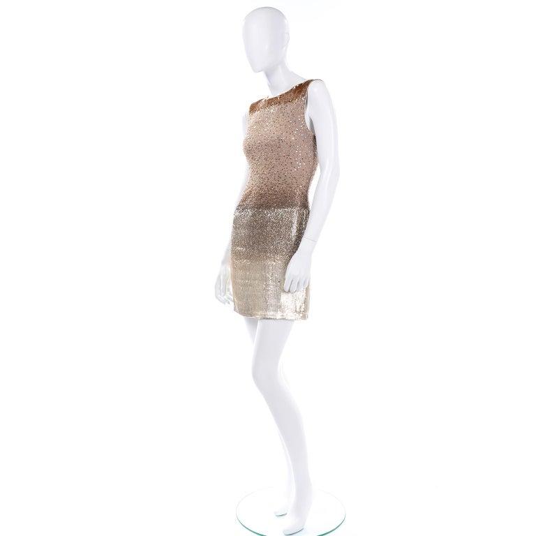 Women's Vintage 1997 Bill Blass Runway Evening Dress Ombre Bronze & Gold Beads & Sequins For Sale