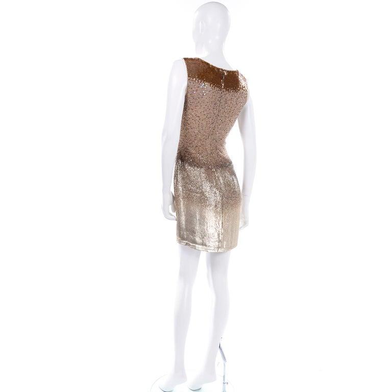 Vintage 1997 Bill Blass Runway Evening Dress Ombre Bronze & Gold Beads & Sequins For Sale 1