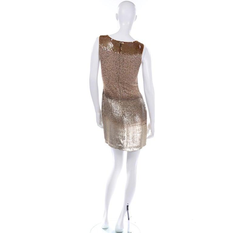 Vintage 1997 Bill Blass Runway Evening Dress Ombre Bronze & Gold Beads & Sequins For Sale 2