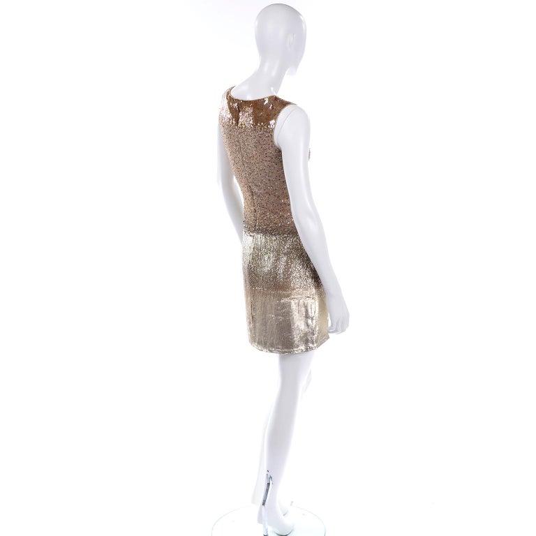Vintage 1997 Bill Blass Runway Evening Dress Ombre Bronze & Gold Beads & Sequins For Sale 3