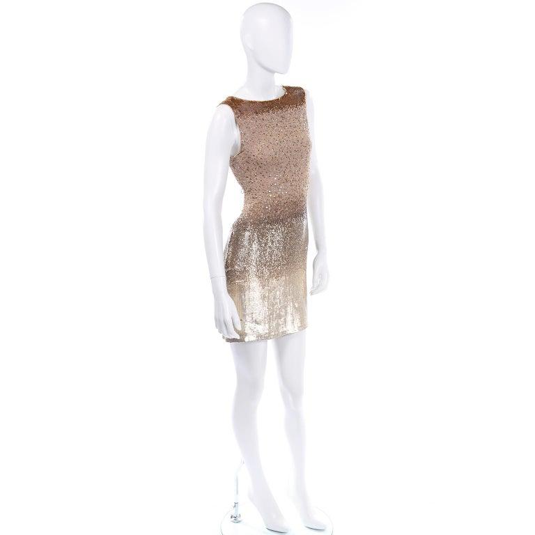 Vintage 1997 Bill Blass Runway Evening Dress Ombre Bronze & Gold Beads & Sequins For Sale 4