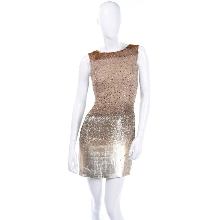 Vintage 1997 Bill Blass Runway Evening Dress Ombre Bronze & Gold Beads & Sequins For Sale 5