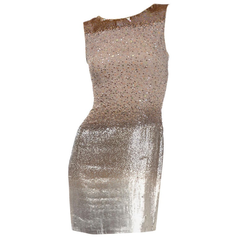 Vintage 1997 Bill Blass Runway Evening Dress Ombre Bronze & Gold Beads & Sequins For Sale