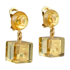 Vintage 1997 CHANEL NO.5 Logo Cube Lucite Lucite Earrings