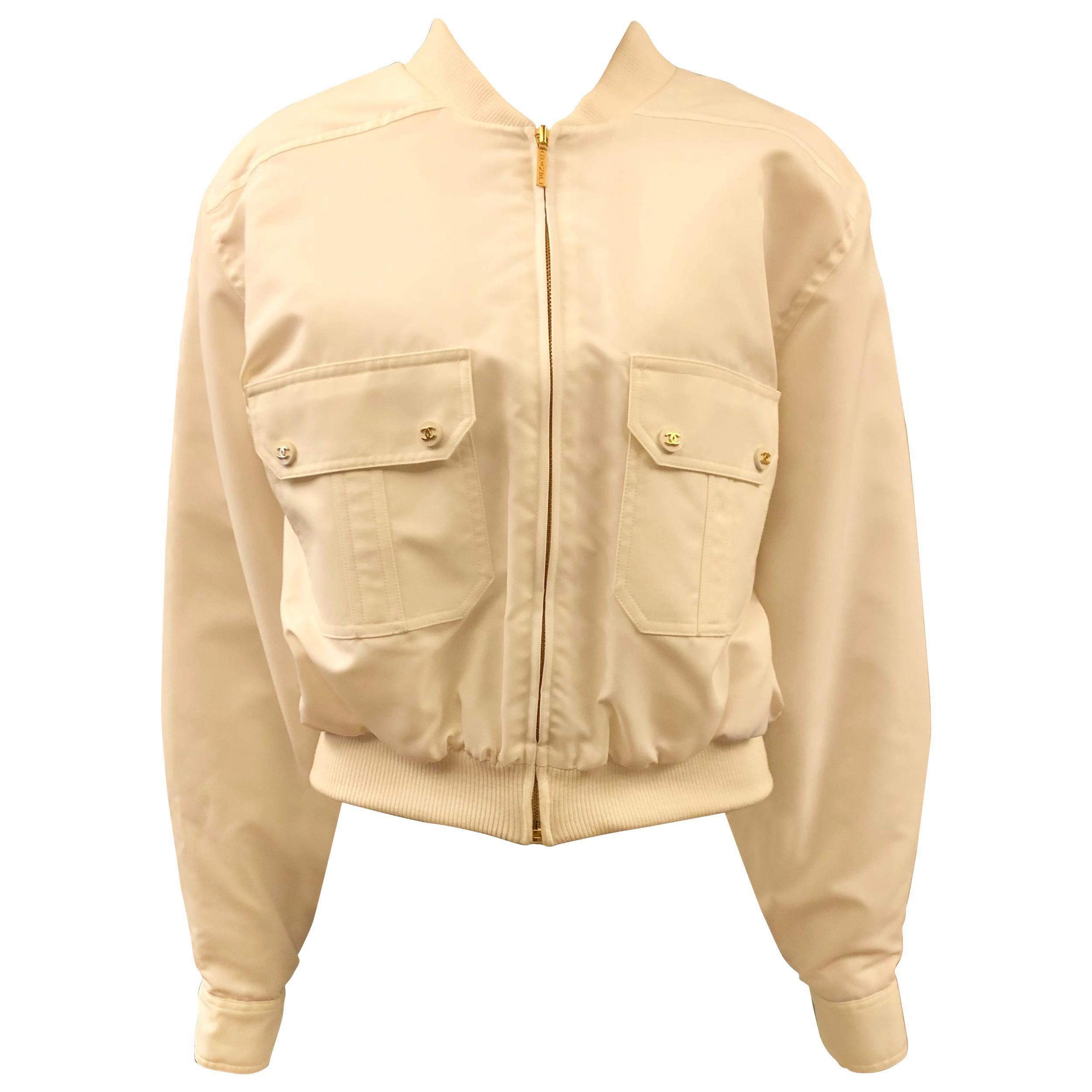 Vintage 1997 Chanel Off White Gathered Bomber Jacket