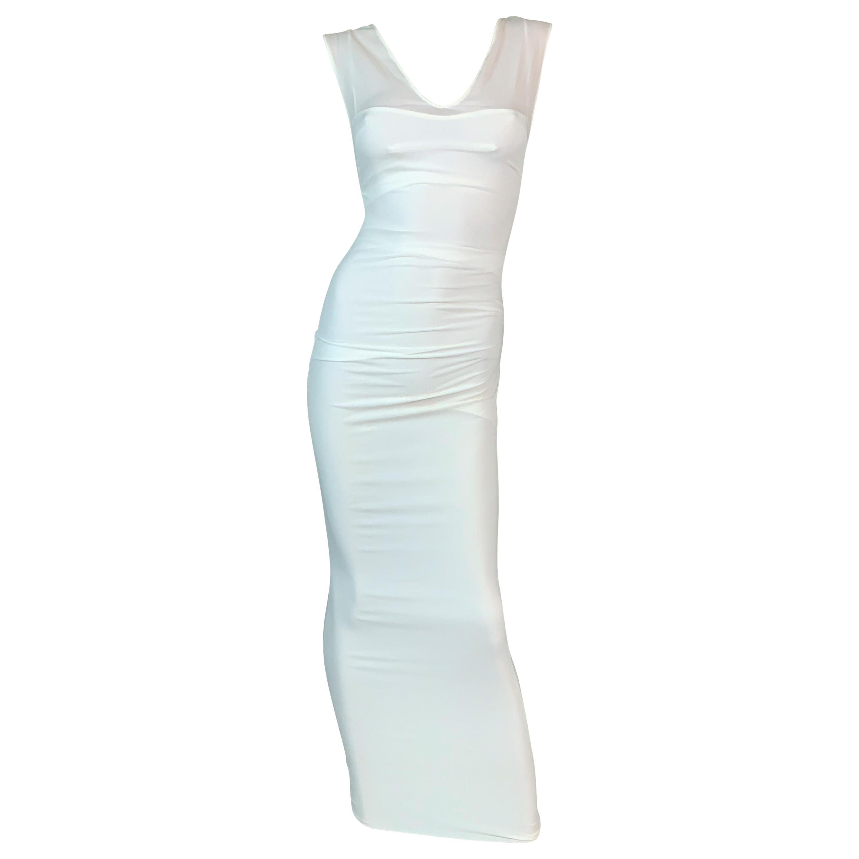 Vintage 1997 Dolce & Gabbana Sheer Ivory Silk Ruched Wiggle Maxi Dress