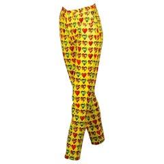 Vintage 1997 GIANNI VERSACE SIGNATURE Multicolor Heart Prints Yellow Pants