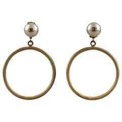 Vintage 1997 Jumbo CHANEL Logo Pearl Hoop Earrings