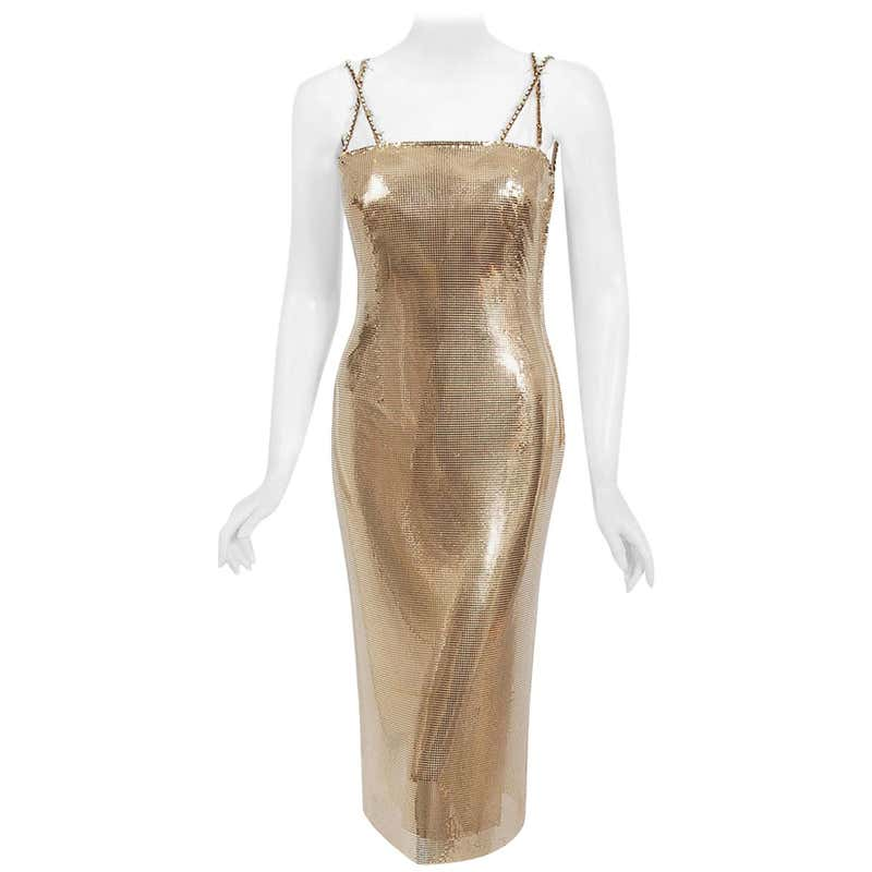 Vintage 1998 Gianni Versace Couture Documented Gold Metal Mesh Hourglass Dress by Versace, available on 1stdibs.com for $11136 Kylie Jenner Dress SIMILAR PRODUCT