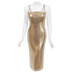 Vintage 1998 Gianni Versace Couture Documented Gold Metal Mesh Hourglass Dress