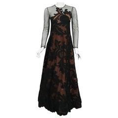 Vintage 1998 Pierre Balmain Haute Couture Sheer Illusion Appliqué Lace Gown