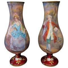 Vintage 19th Century, Artist Signed Pair of Enamel Vases