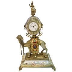 Vintage 19th Century Enamel/Silver Austrian Clock