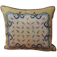 Vintage Blue and Yellow Decorative Tapestry Pillow