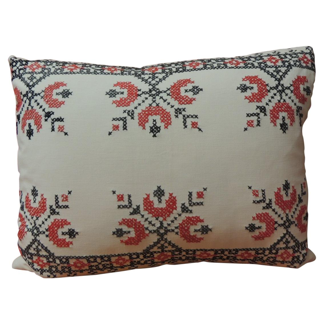 Vintage Cross-Stitch Red and Black German Embroidery Pillow