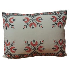 Vintage 19th Century Style Cross-Stitch Red and Black German Embroidery Pillow