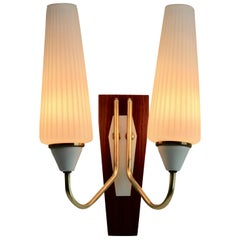 Vintage 2 Arms Wall Mount Lamp in the Style of Stilnovo, Italian, 1960s