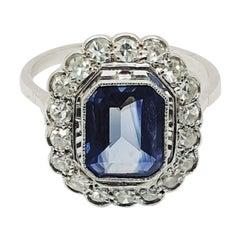 Vintage 2 Carat Blue Sapphire Cluster Diamond Ring