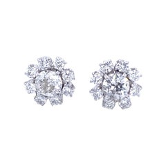 Vintage 2 Carat Diamond Platinum Cluster Stud Earrings