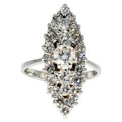 Vintage 2 Carat Diamonds Cluster Cocktail Ring 18 Karat White Gold