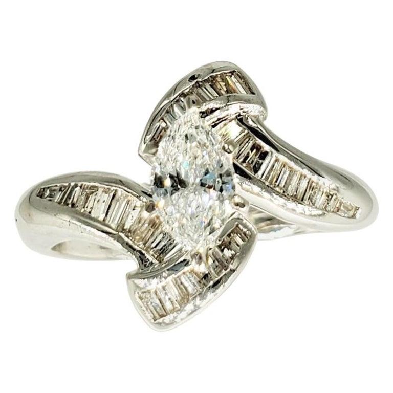 Vintage 2 Carat Vs I Marquise Diamonds Swivel Engagement Ring 14 Karat Gold For Sale At 1stdibs