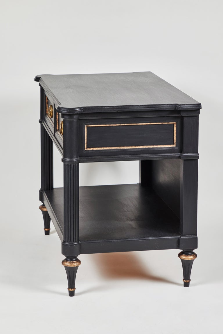 Mid-Century Modern Vintage 2-Drawer Side Table Newly Painted in Black w/ Distressed Gold Details For Sale