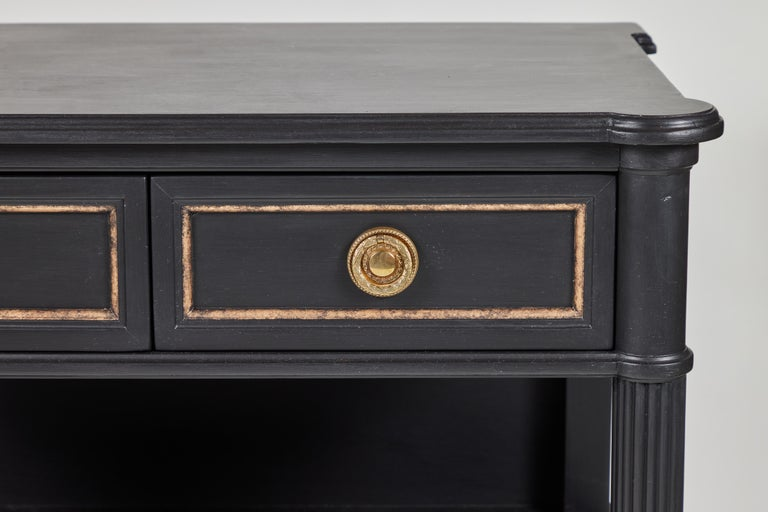 20th Century Vintage 2-Drawer Side Table Newly Painted in Black w/ Distressed Gold Details For Sale