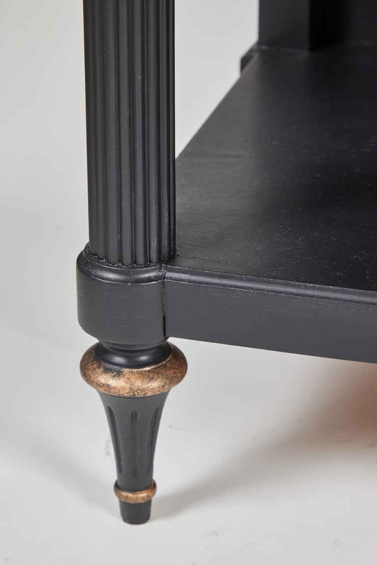 Brass Vintage 2-Drawer Side Table Newly Painted in Black w/ Distressed Gold Details For Sale