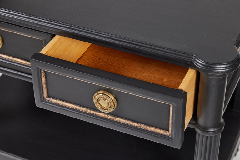 Vintage 2-Drawer Side Table Newly Painted in Black w/ Distressed Gold Details For Sale 1