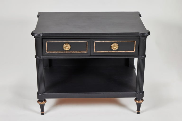 Vintage 2-Drawer Side Table Newly Painted in Black w/ Distressed Gold Details For Sale 2