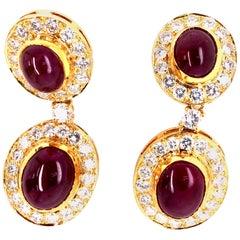 Vintage 20 Carat Ruby and 4 Carat Diamonds 18 Karat Yellow Gold Dangling Earring