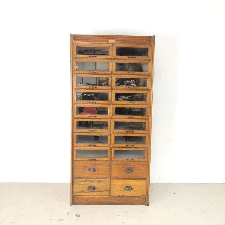 Wood Vintage 20-Drawer Haberdashery Cabinet Shop Display