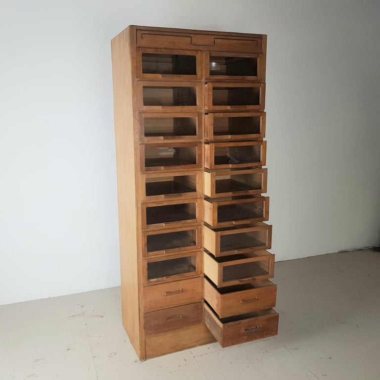English Vintage 20-Drawer Haberdashery Cabinet Shop Display Made by Dudley & Co. For Sale