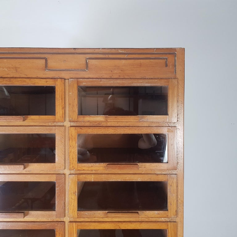 Wood Vintage 20-Drawer Haberdashery Cabinet Shop Display Made by Dudley & Co. For Sale