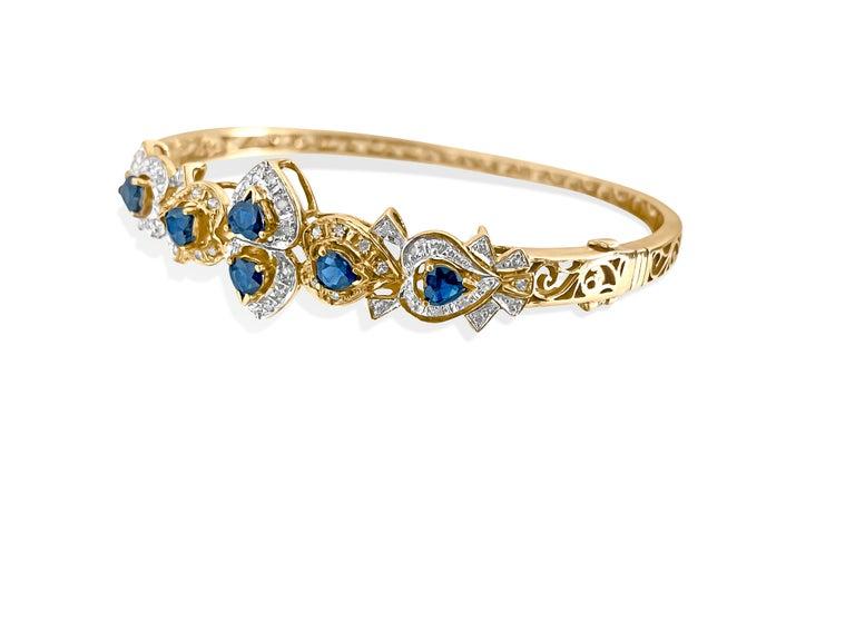 Art Deco Vintage 2.00 Carat Blue Sapphire Diamond Bracelet